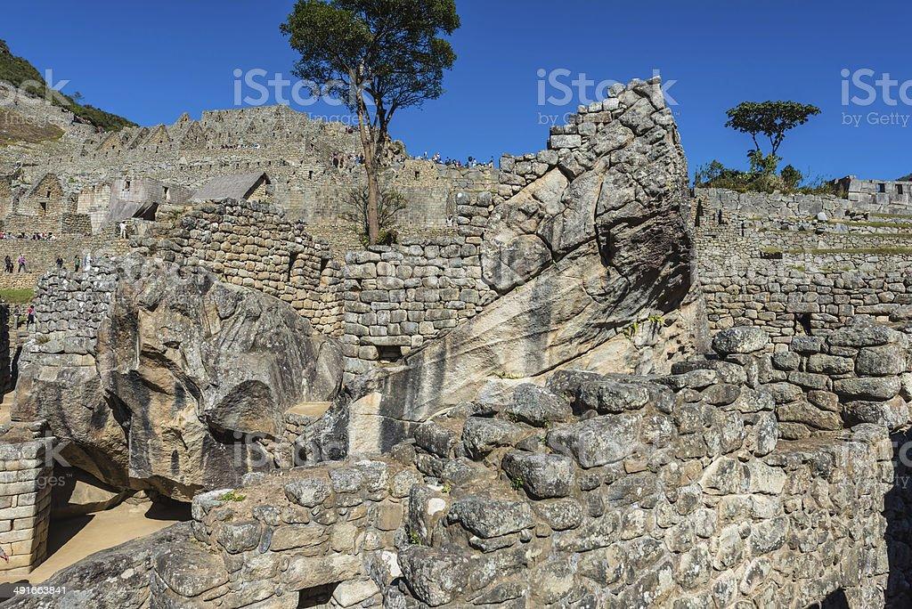 condor temple Machu Picchu ruins peruvian Andes Cuzco Peru stock photo
