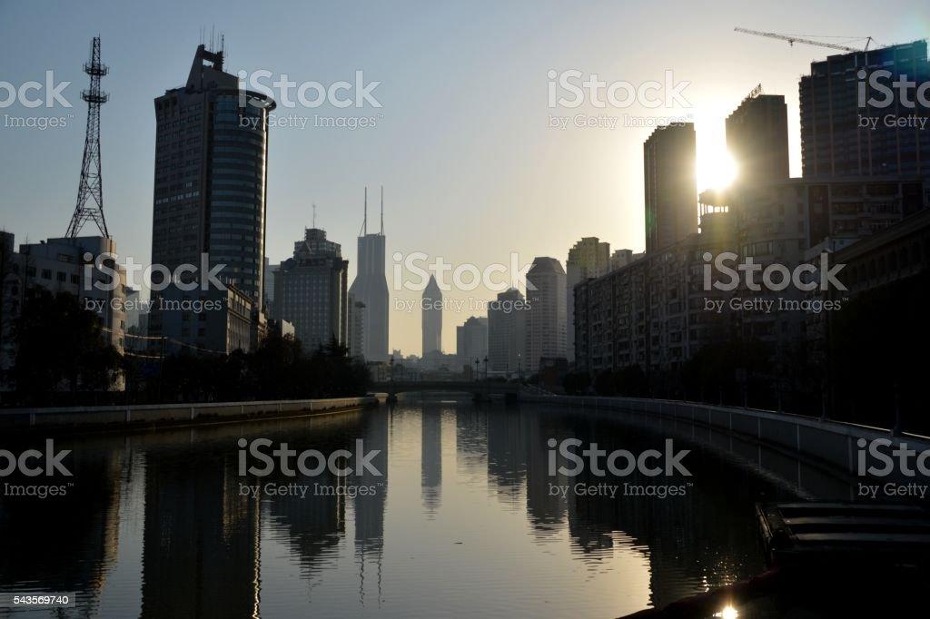 Condos along Suzhou creek, Shanghai stock photo