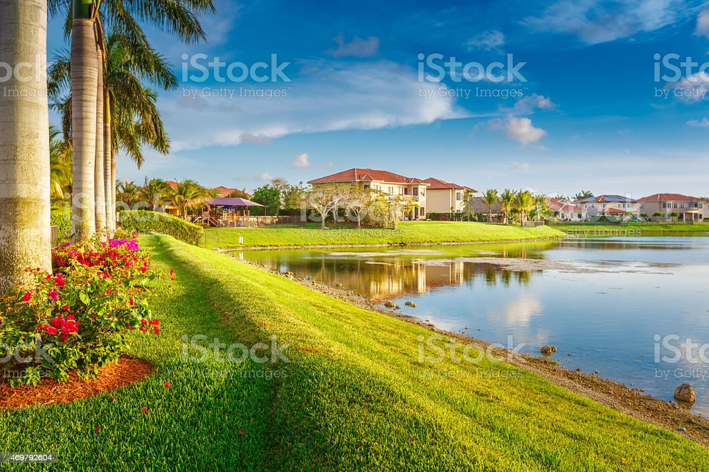 Condos by the lake stock photo