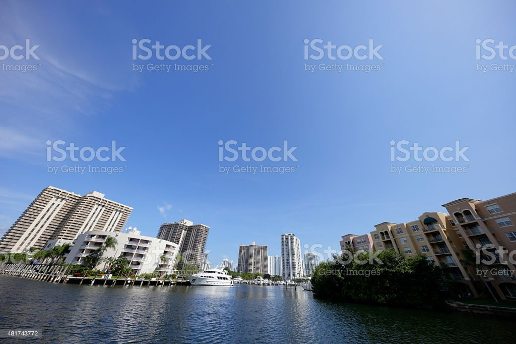 Condos on the water Aventura FL stock photo