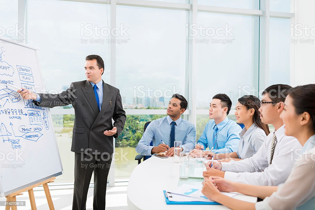 Conducting training stock photo