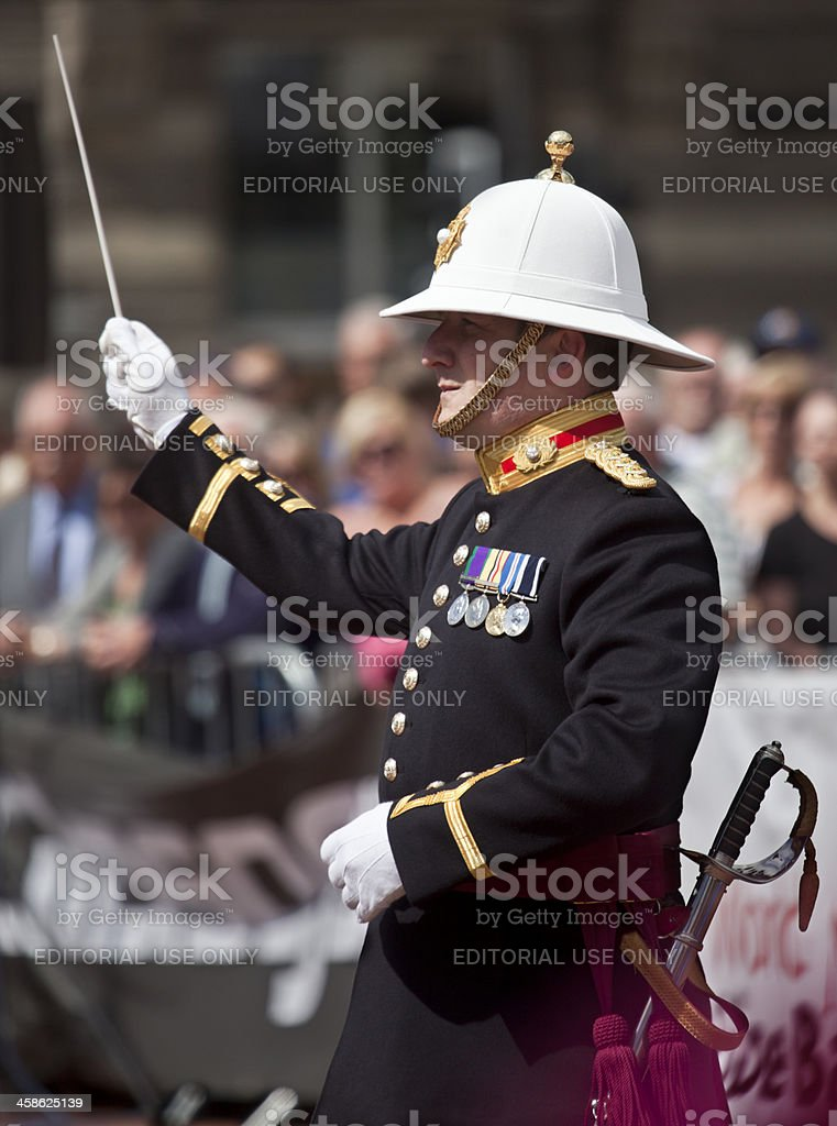 Conductor: Band of HM Royal Marines, George Square, Glasgow royalty-free stock photo