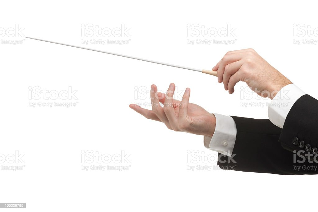 Conductors hands with pointy stick isolated on white stock photo