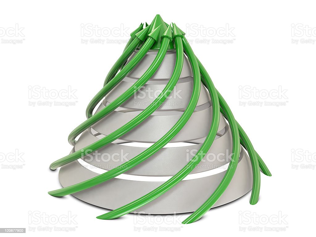Cone chart green-white with spiral green arrows stock photo