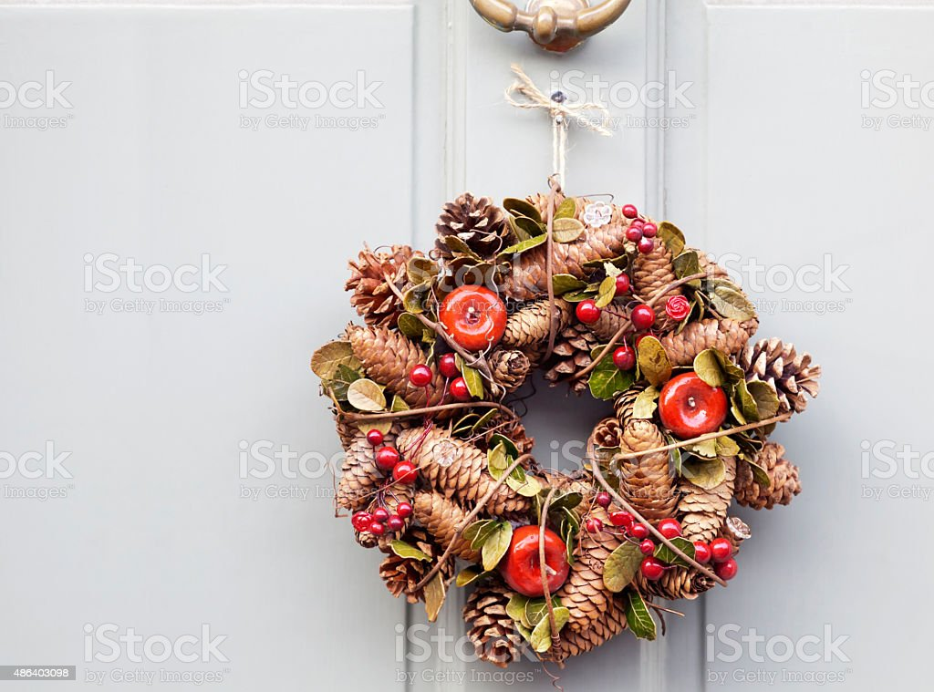 Cones Apples and Berries Wreath stock photo