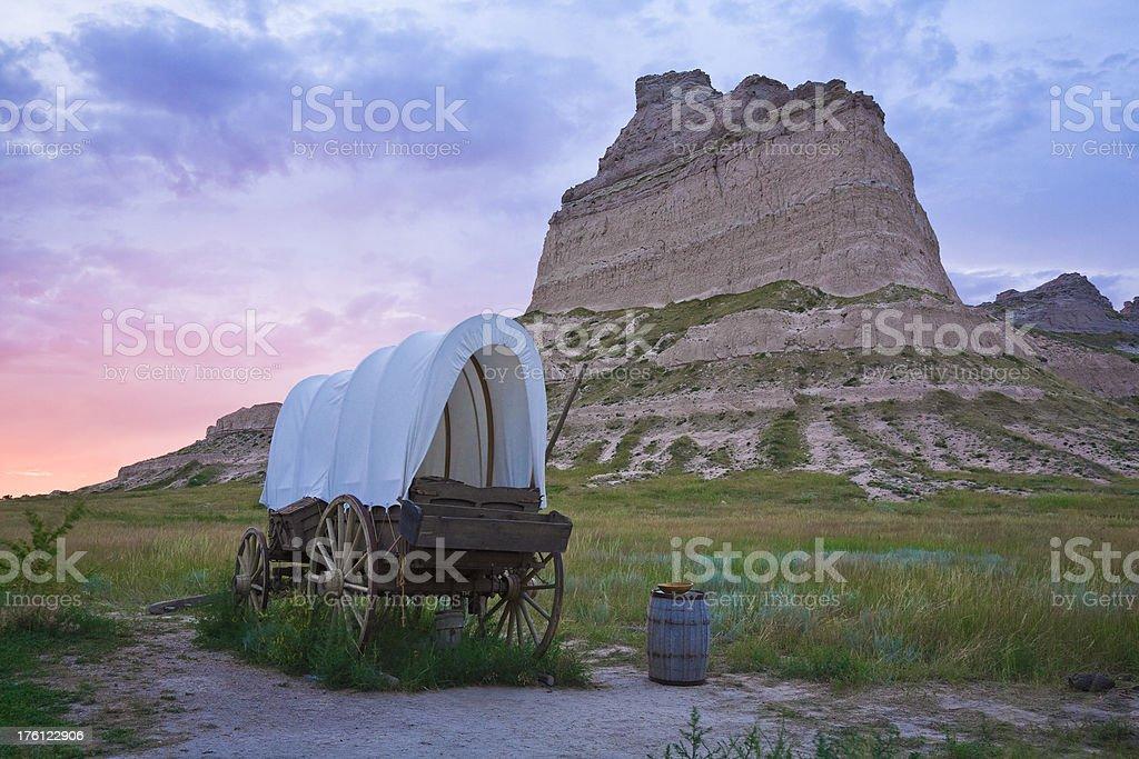 Conestoga covered wagon, Scotts Bluff National Monument, Oregon Trail, Nebraska stock photo