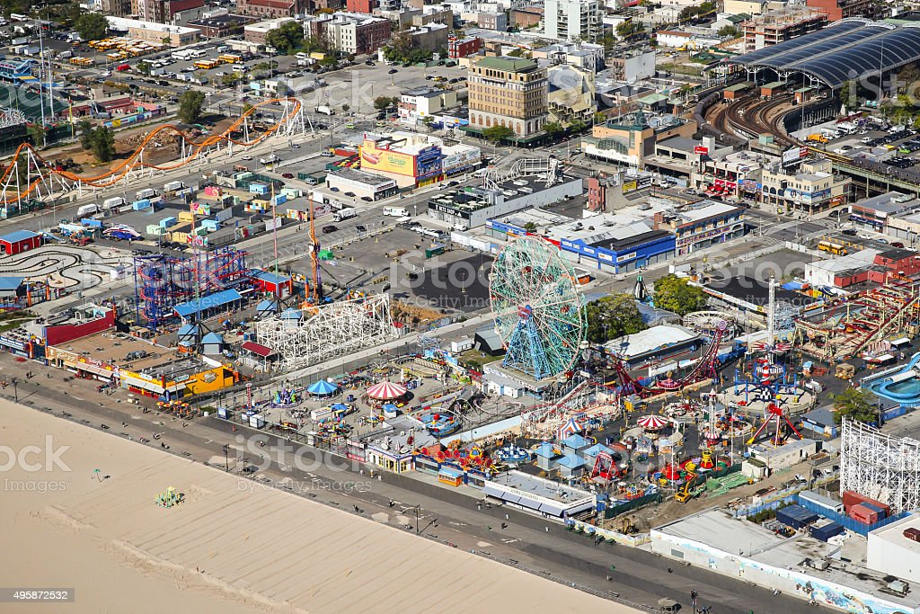 Coney Island Aerial stock photo