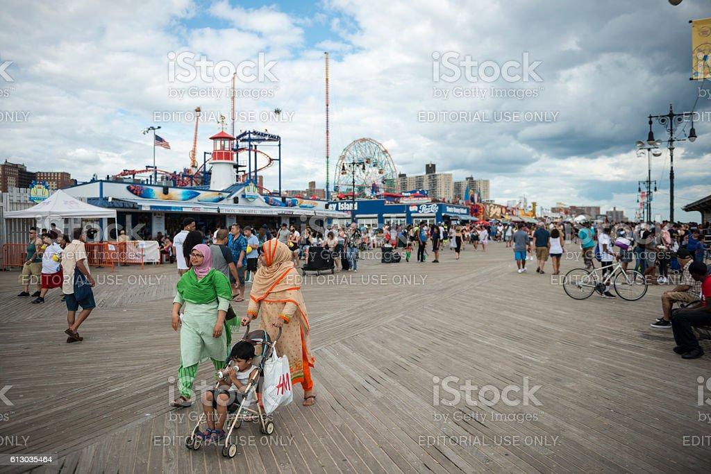 Coney Island boardwalk in New York stock photo