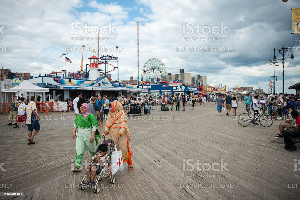 Coney Island boardwalk in New York stock photo