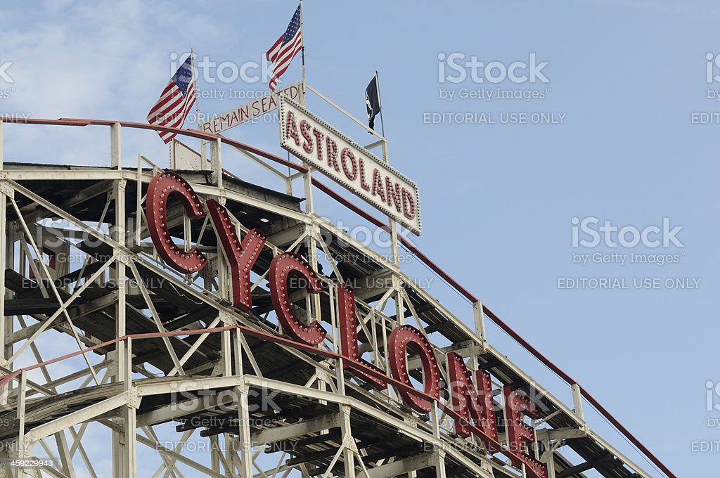 Coney Island Cyclone Historic Wooden Roller Coaster Amusement Ride NYC royalty-free stock photo