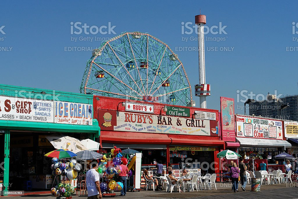Coney Island Shops Along the Boardwalk royalty-free stock photo