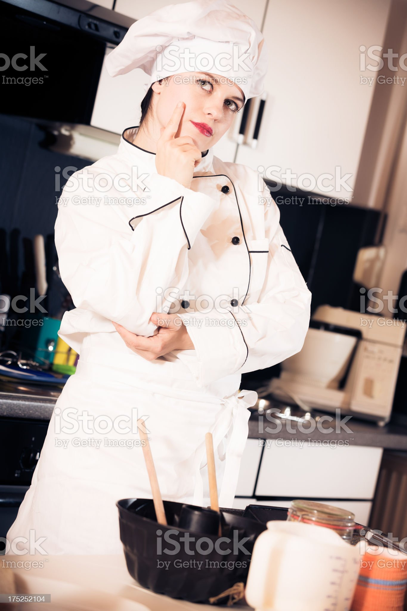 confectioner baking a cake royalty-free stock photo