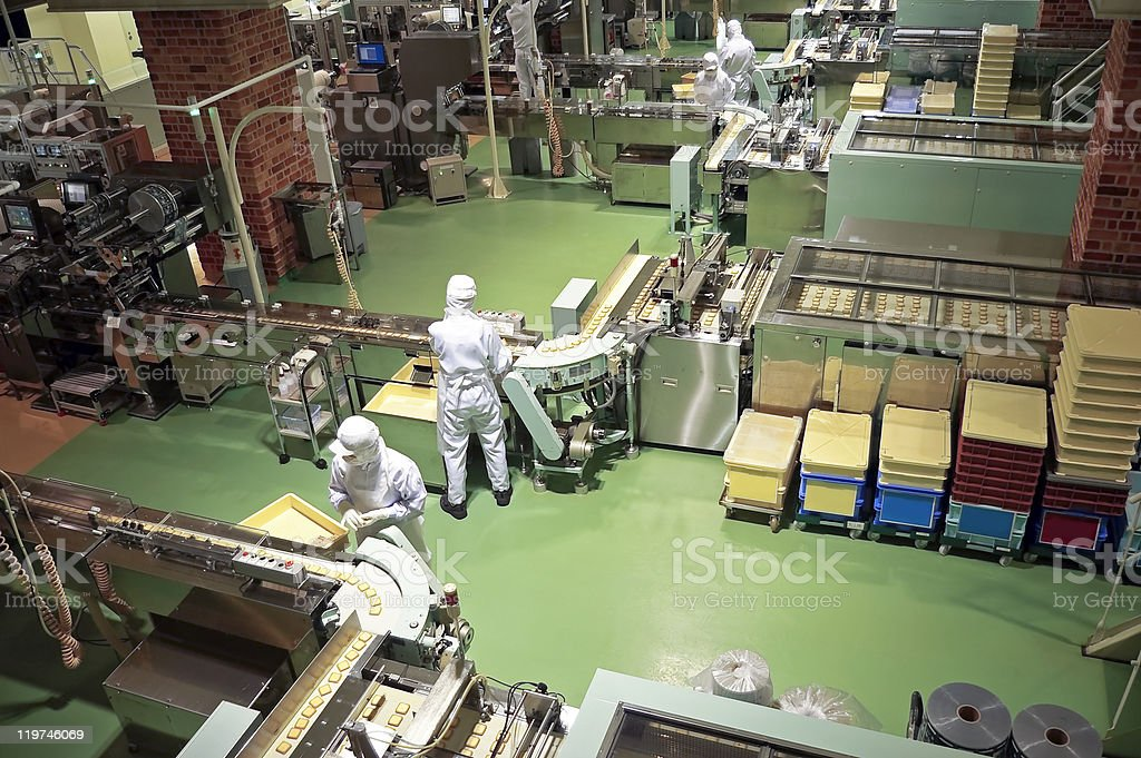 Confectionery factory on production cookie stock photo