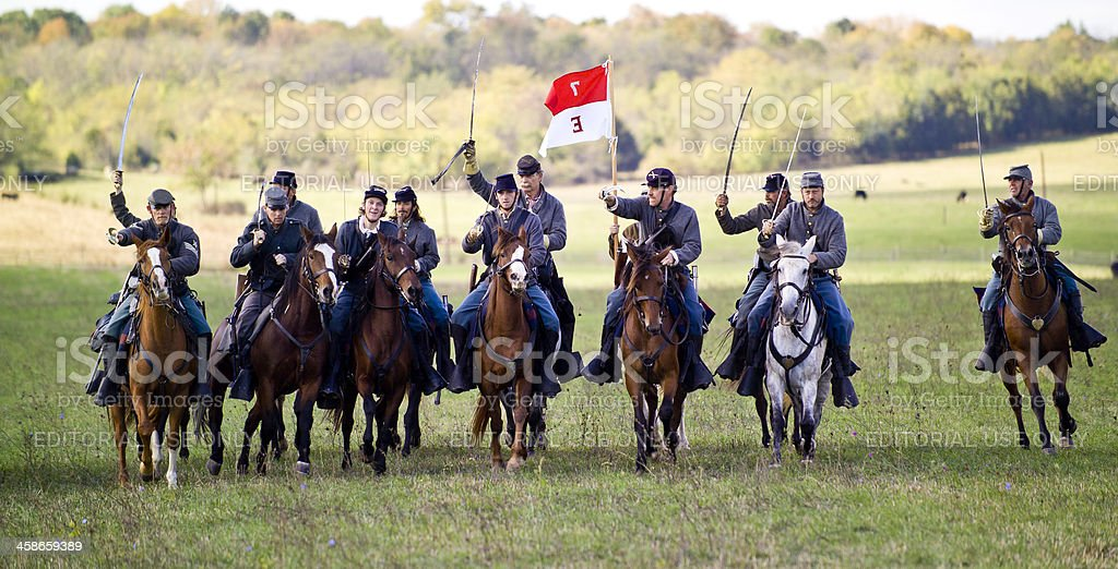 Confederate Cavalry Charge in the Shenandoah Valley, Virginia stock photo