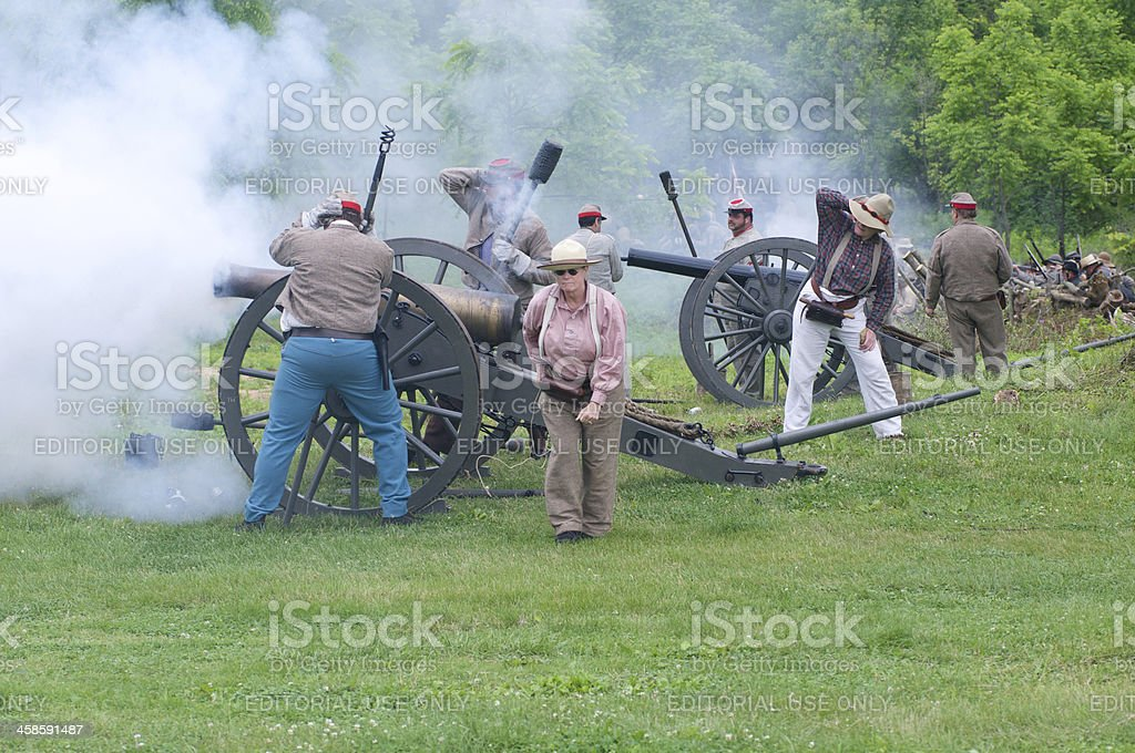 Confederate Civil War Reenactors Fire at Union Troops royalty-free stock photo