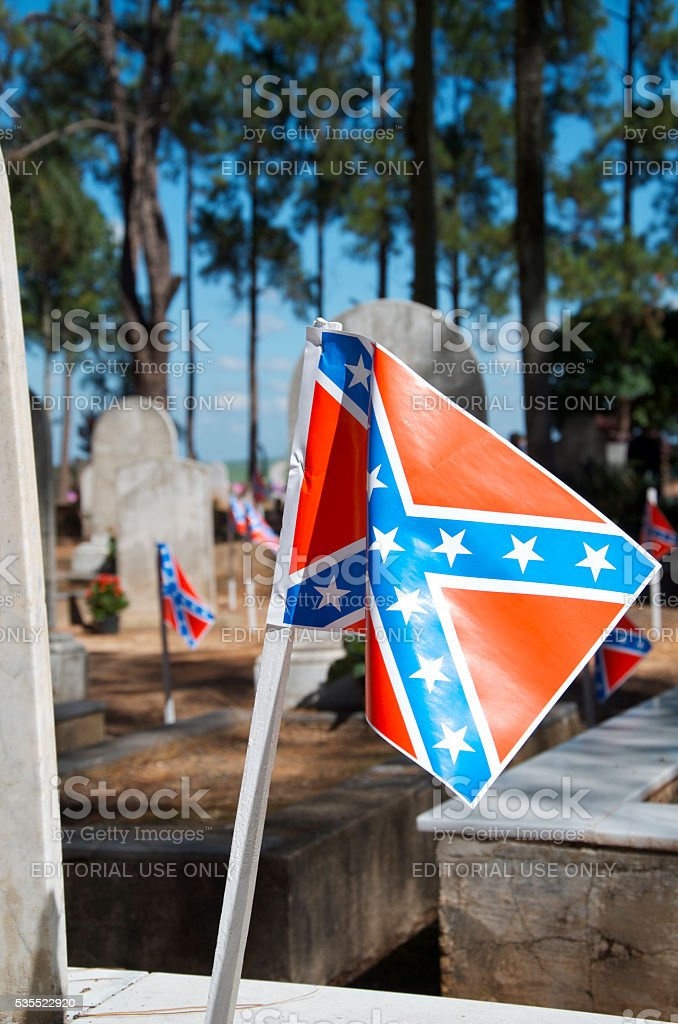 Confederate Flags in Cemetery stock photo