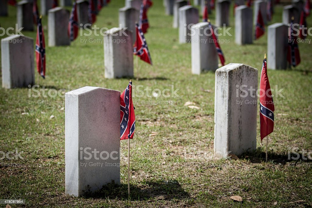 Confederate Graves with Flags stock photo