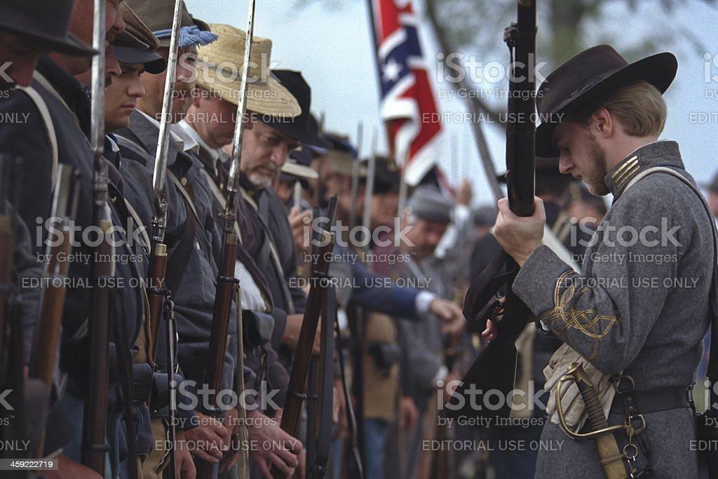 Confederate Infantry Captain Inspects the Troops royalty-free stock photo