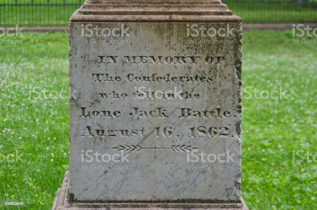 Confederate Monument Inscription at Lone Jack Civil War So stock photo