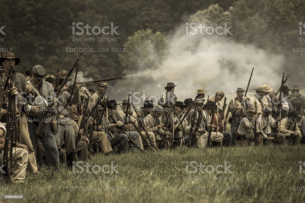 Confederate skirmish line stock photo
