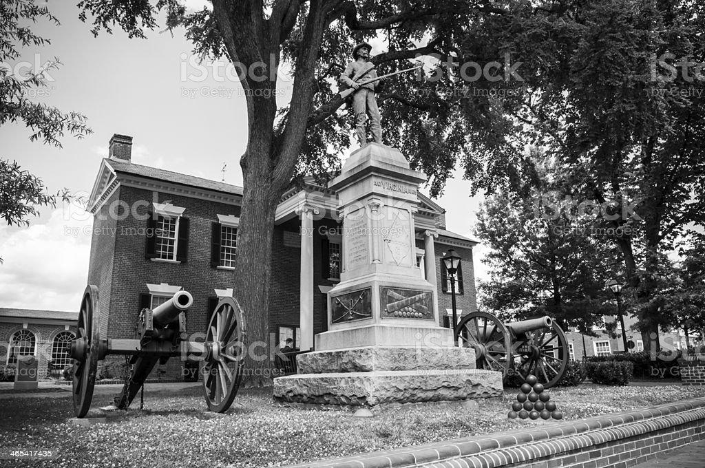 Confederate soldier memorial statue in Charlottesville stock photo