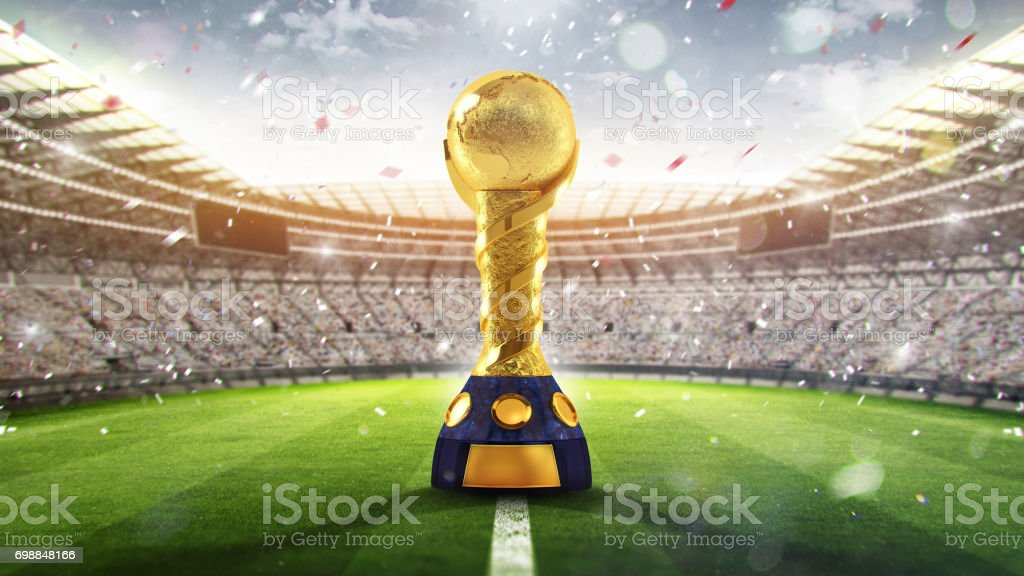 Confederations Cup. Golden trophy in the form of the globe. 2017. 3d render stock photo