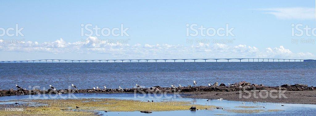 PEI Confedereration Bridge Wide Angle royalty-free stock photo