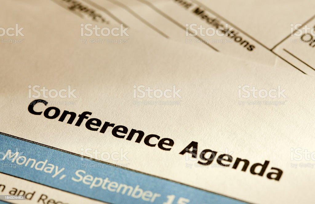Conference agenda stock photo