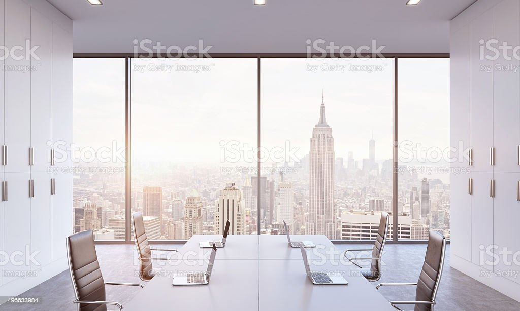 conference area in a bright modern open space office. stock photo