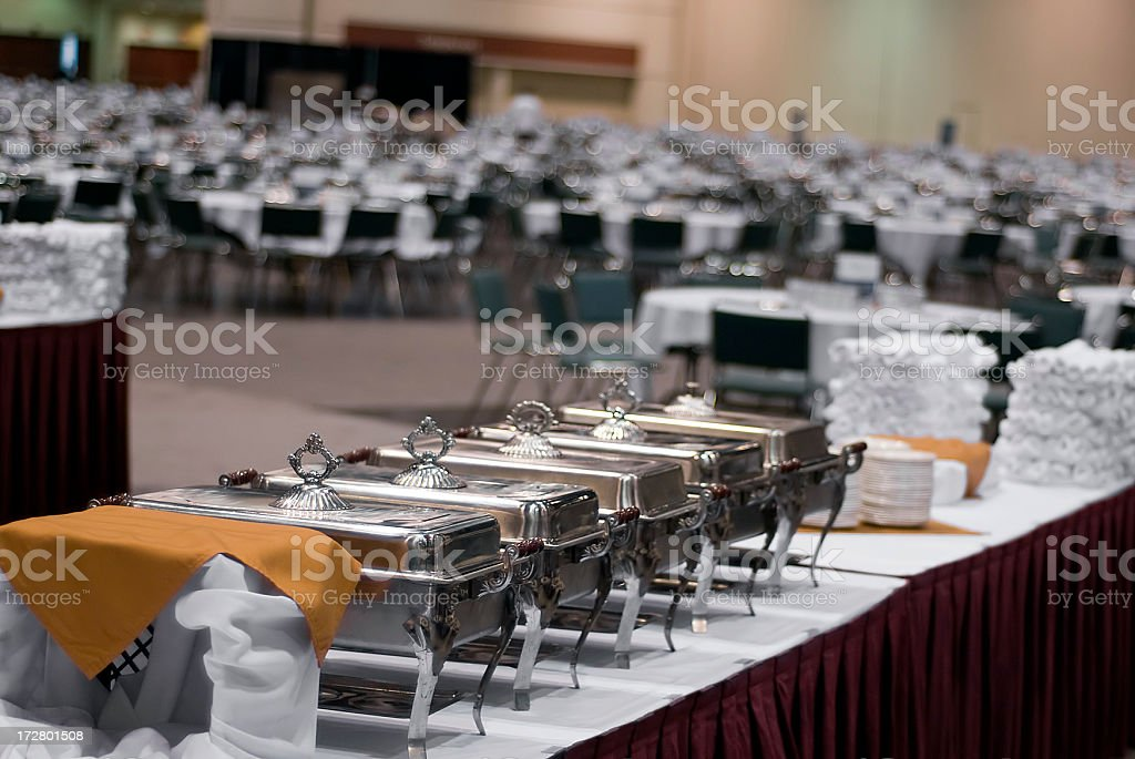 Conference Center Buffet Food Serving Trays stock photo