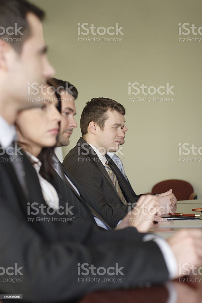 Conference, group of five business people stock photo