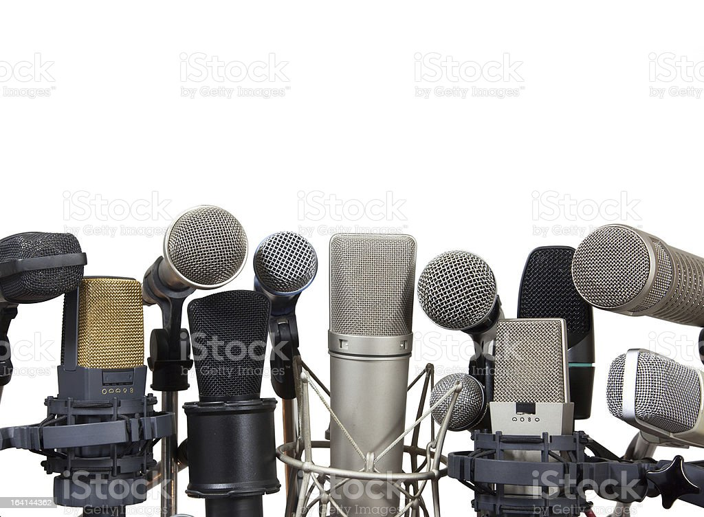 Conference meeting microphones on white background royalty-free stock photo