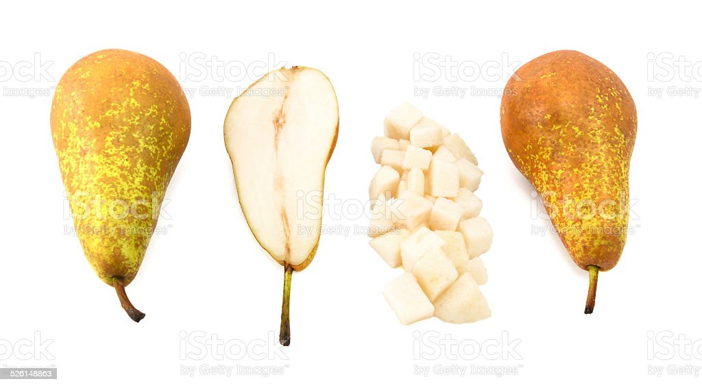 Conference pears - whole, halved and diced stock photo