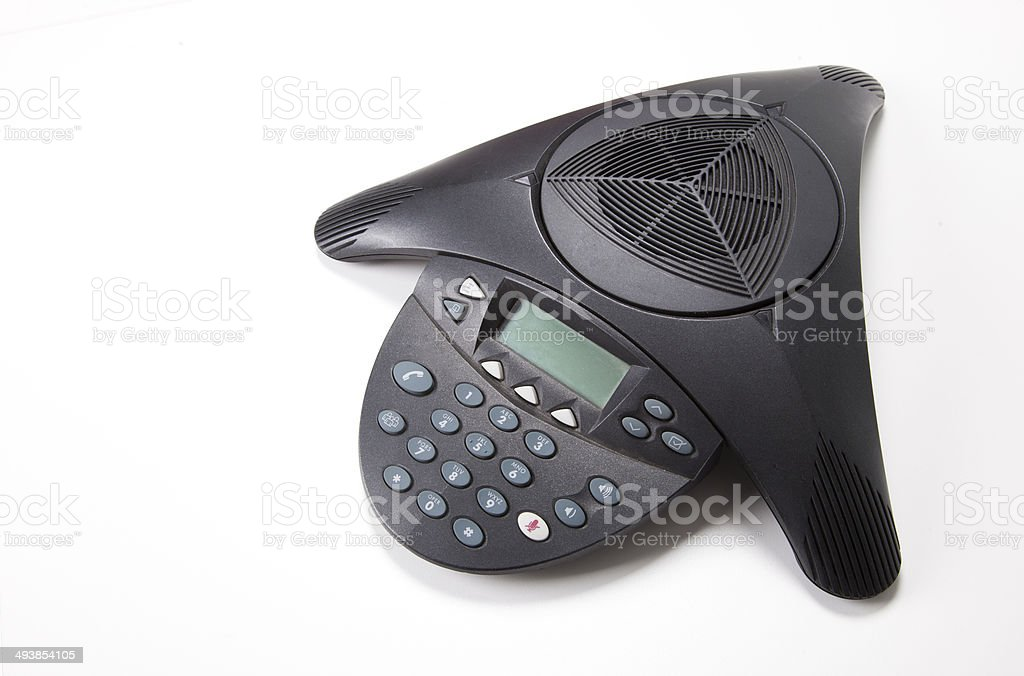 Conference phone over white background stock photo