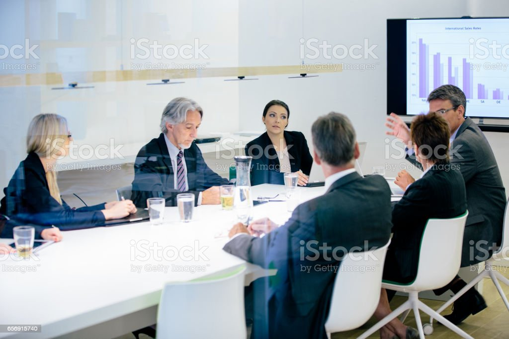 Conference Room Business Meeting Sales Numbers Presentation stock photo