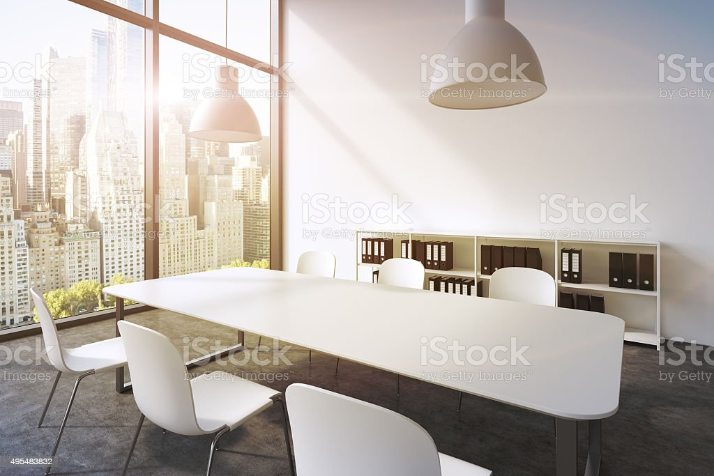 conference room in a modern panoramic office stock photo