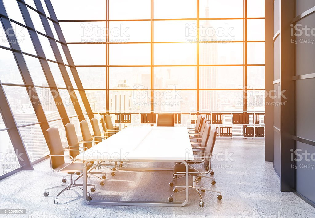 Conference room interior with sunlight stock photo