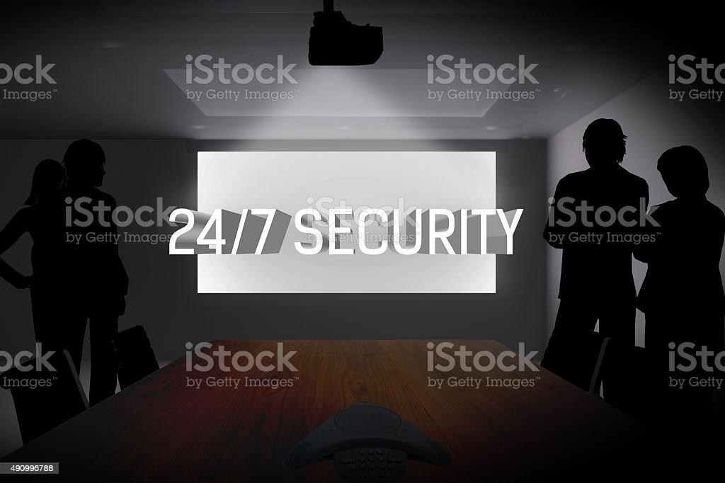 Conference Room Light Display 24-7 Security stock photo