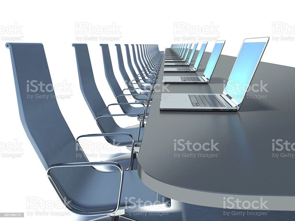 conference room with black table and chairs and laptops royalty-free stock photo