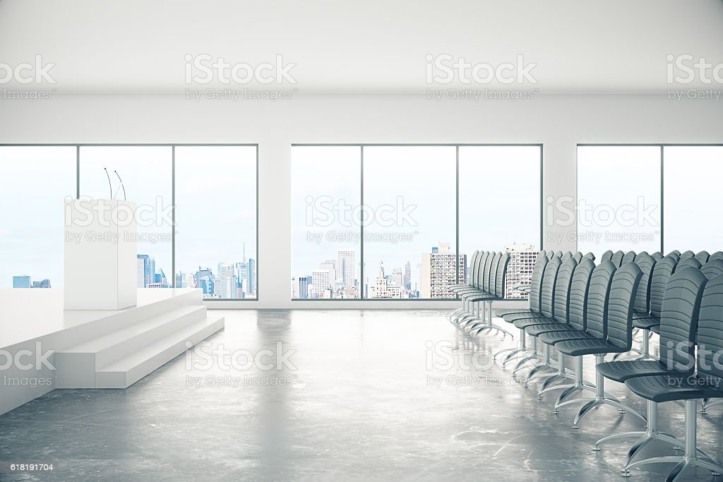 Conference room with city view stock photo