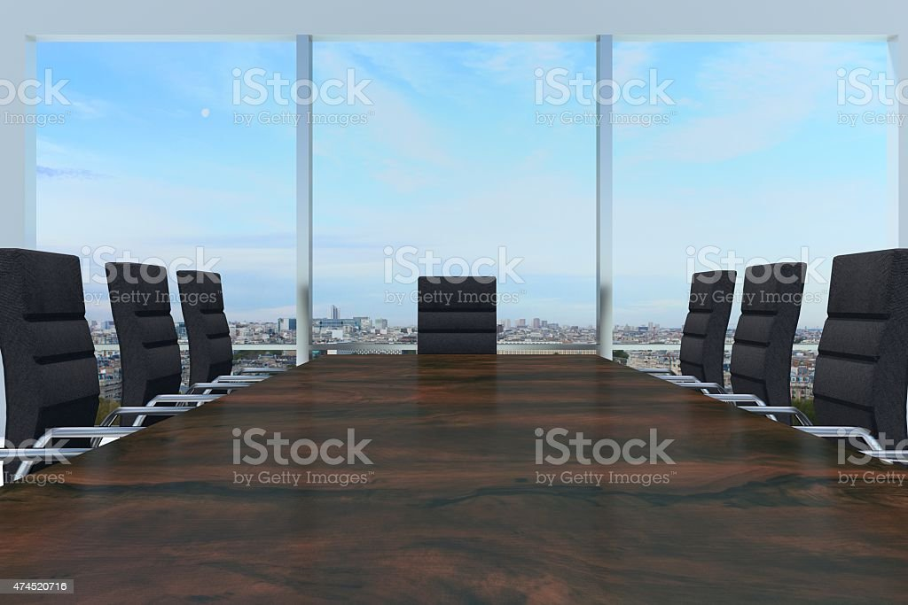 conference room with large wooden desk and skyline window stock photo