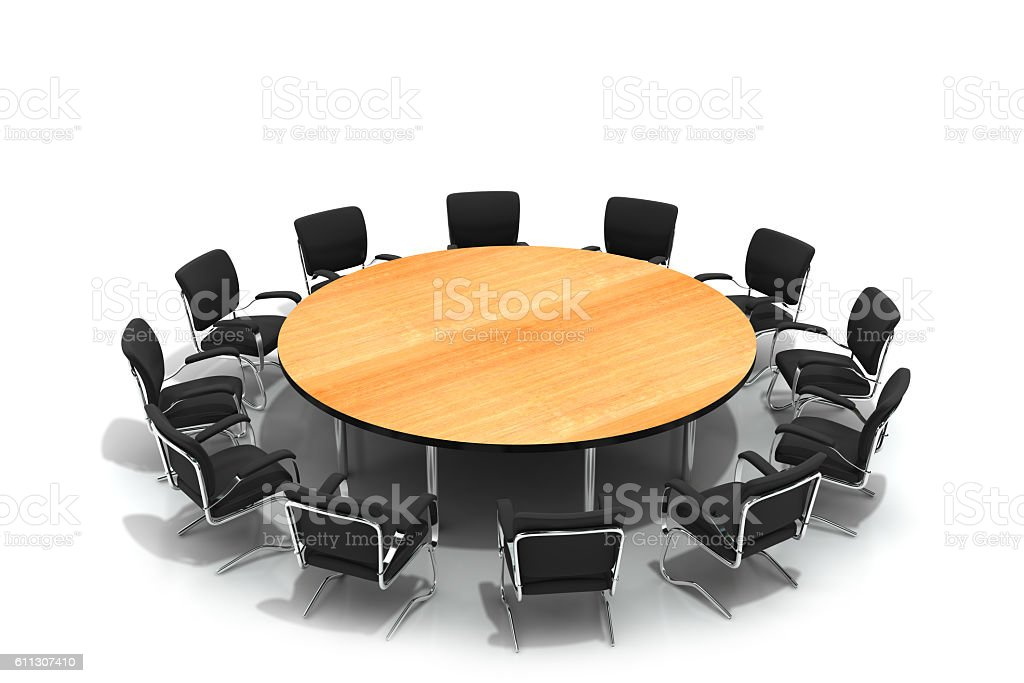 conference round table and chairs stock photo