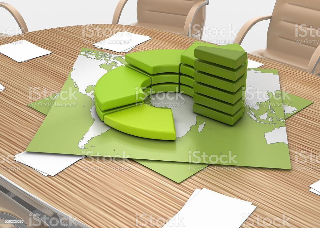 Conference Table and Graph on the World Map stock photo