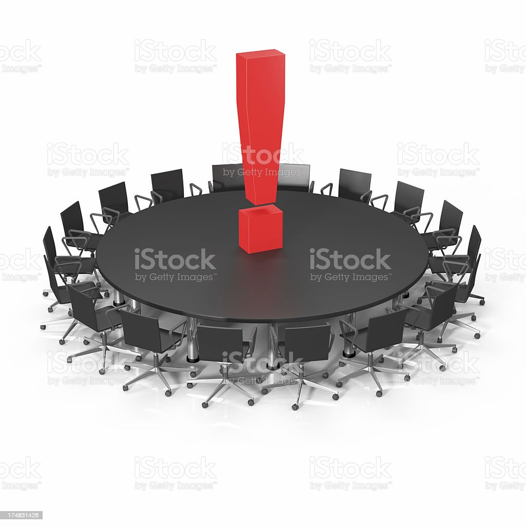 Conference Table Exclamation Point royalty-free stock photo