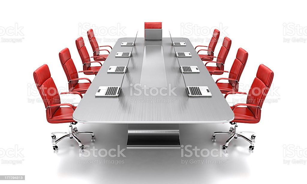 Conference table in an empty, isolated room royalty-free stock photo
