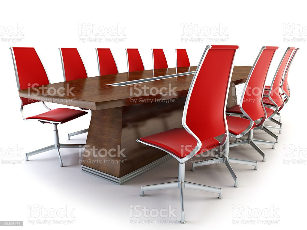 Conference table with red chairs royalty-free stock photo