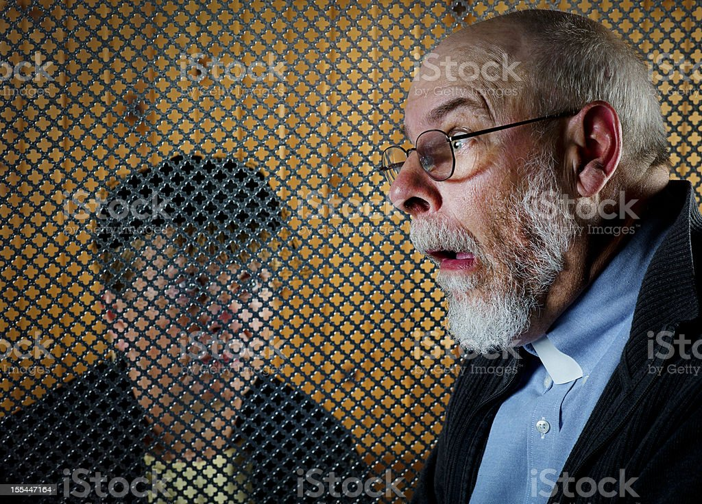 Confession. stock photo