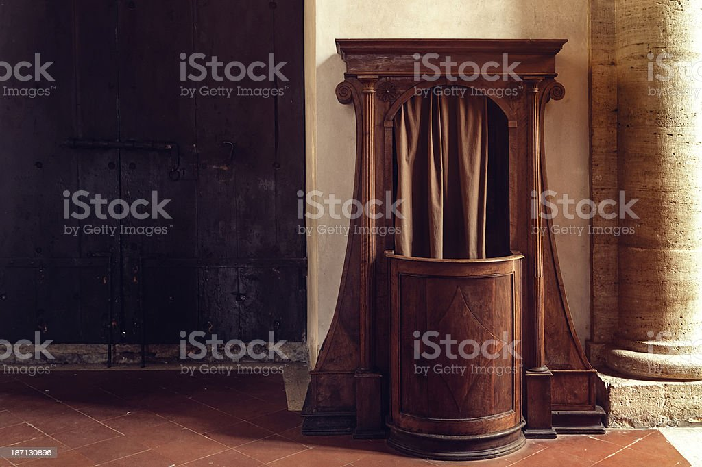 Confessional booth stock photo