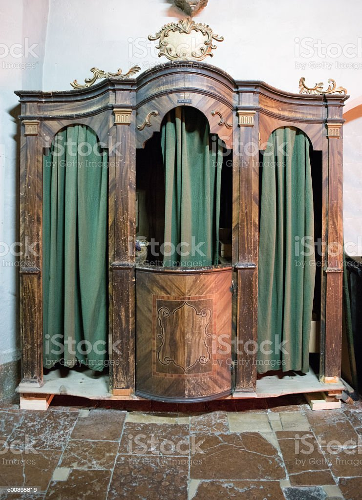 Confessional, Confession Booth stock photo