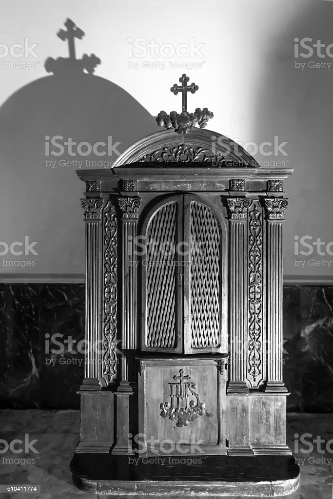 Confessional, the black-and-white stock photo